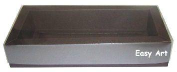 Caixa para 10 Brigadeiros / Tampa Transparente - Marrom Chocolate