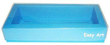 Caixa para 10 Brigadeiros / Tampa Transparente - Azul Turquesa
