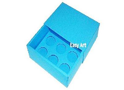 Caixas para 6 Brigadeiros - Azul Turquesa