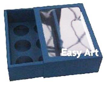 Caixas para 6 Brigadeiros com Visor - Azul Marinho