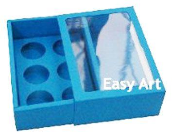 Caixas para 6 Brigadeiros com Visor - Azul Turquesa