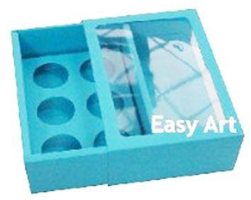 Caixas para 6 Brigadeiros com Visor - Azul Tiffany