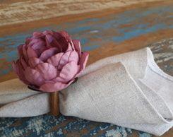 Porta Guardanapos  / Flores de Tecido - Peônia
