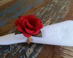 Porta Guardanapos  / Flores de Tecido - Gerânio