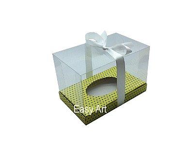 Caixa Ovo de Páscoa 350g - Amarelo Poá Marrom