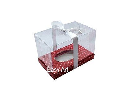 Caixa Ovo de Páscoa Deitado - Vermelho Poás Brancas