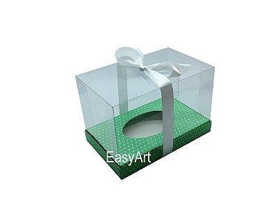 Caixa Ovo de Páscoa Deitado - Verde Poá Branca