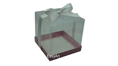 Caixa para Mini Bolo 14x14x14 - Rosa Poa Marrom