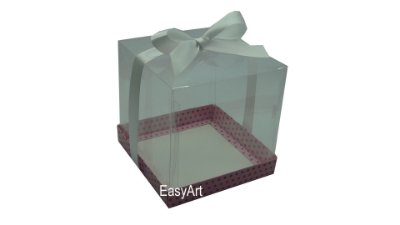 Caixa para Mini Bolo / Panetones 14x14x14 - Rosa Poa Marrom
