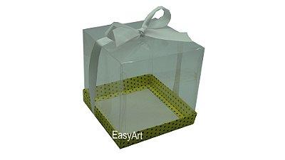 Caixa para Mini Bolo 14x14x14 - Amarelo Poa Marrom
