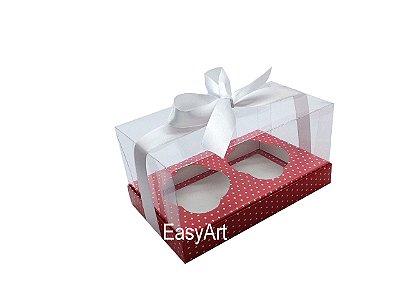 Caixas para Dois Cupcakes - Vermelho Poa Branca