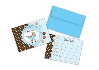 Convites Chá de Bebê Menina Pacote com 8 Unidades - 10,5x8