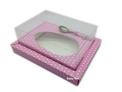 Caixa para Ovos de Colher 250g Rosa com Poás Brancas - Linha Colors