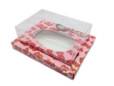 Caixa para Ovos de Colher 250g Rosa com Corações - Linha Colors