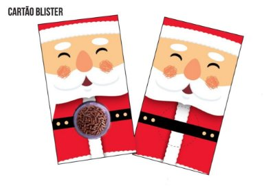 Cartão Blister para 1 Brigadeiro / Bombom - Modelo Papai Noel