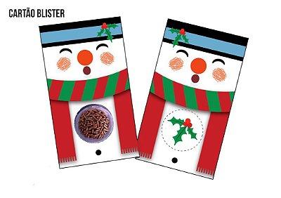 Cartão Blister para 1 Brigadeiro / Bombom - Modelo Boneco de Neve