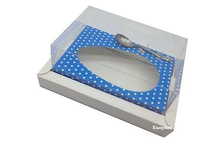 Caixa para Ovos de Páscoa 250g Branco / Azul com Póas Brancas