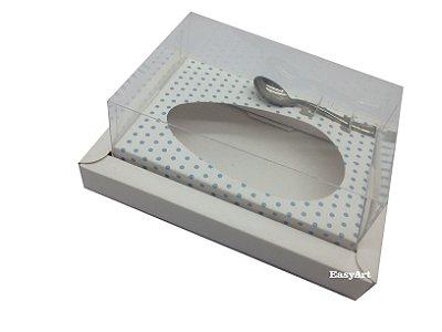 Caixa para Ovos de Colher 250g / Branco / Branco com Poás Azuis
