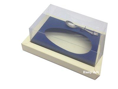 Caixa para Ovos de Colher 250g Marfim / Azul Marinho