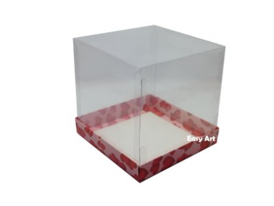 Caixinhas para Mini Panetones / Mini Bolos - Rosa com Corações