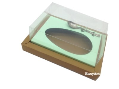 Caixa para Ovos de Colher 250g Marrom Claro / verde Claro