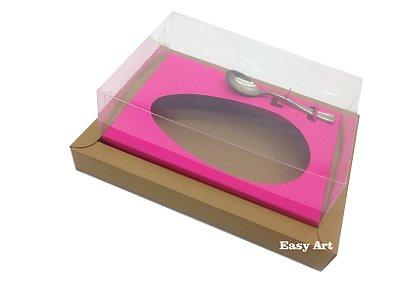 Caixa para Ovos de Colher 250g Marrom Claro / Pink