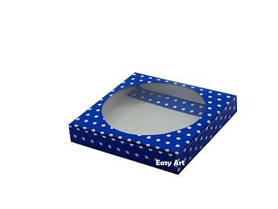 Caixa para Biscoitos / Porta copos - Azul com Poás Branca