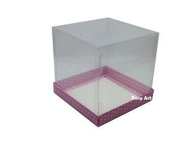 Caixinhas para Mini Bolos - 10x10x10 / Rosa com Poás Brancas