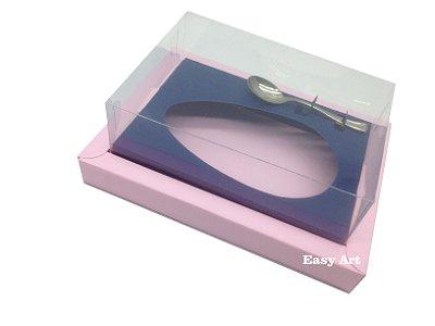 Caixa para Ovos de Colher 250g Rosa Claro / Azul Marinho