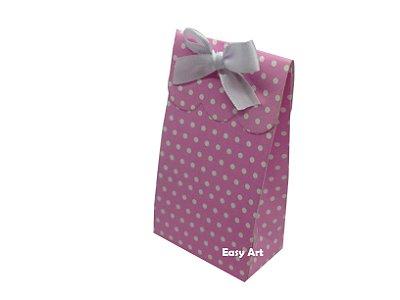 Sacolinha Francesa - Rosa com Poás Brancas / 7,5x4,5x13,5