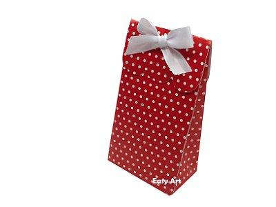 Sacolinha Francesa - Vermelho com Poás Brancas / 7,5x4,5x13,5