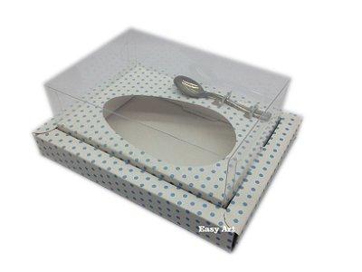 Caixa para Ovos de Colher 500g Branco com Poás Azuis - Linha Colors