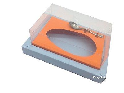 Caixa para Ovos de Colher 500g - Azul Claro / Laranja Escuro