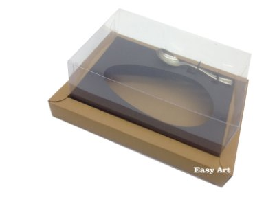Caixa para Ovos de Colher 500g Marrom Claro / Preto
