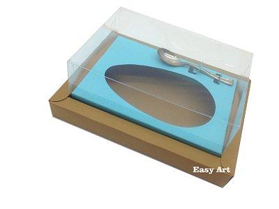 Caixa para Ovos de Colher 500g Marrom Claro / Azul Turquesa