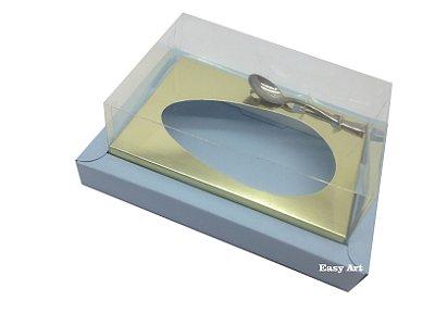 Caixa para Ovos de Colher 350g - Azul Claro / Dourado