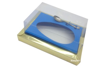 Caixa para Ovos de Colher 350g Dourado / Azul Turquesa