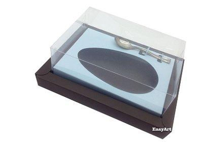 Caixa para Ovos de Colher 350g Marrom / Azul Claro