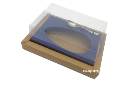 Caixa para Ovos de Colher 350g Marrom Claro / Azul Marinho