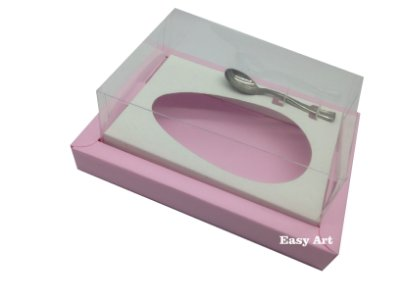 Caixa para Ovos de Colher 350g Rosa Claro / Branco