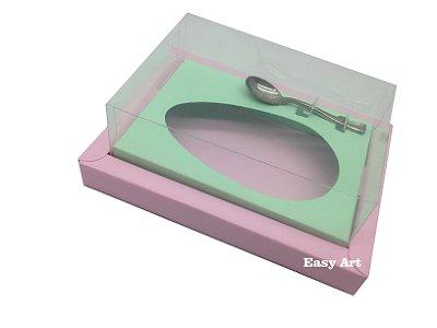 Caixa para Ovos de Colher 350g Rosa Claro / Verde Claro