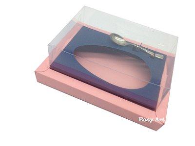 Caixa para Ovos de Colher 350g Salmão / Azul Marinho
