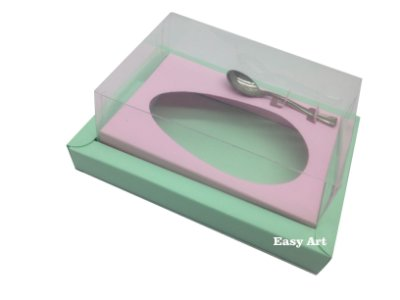 Caixa para Ovos de Colher 350g Verde Claro / Rosa Claro