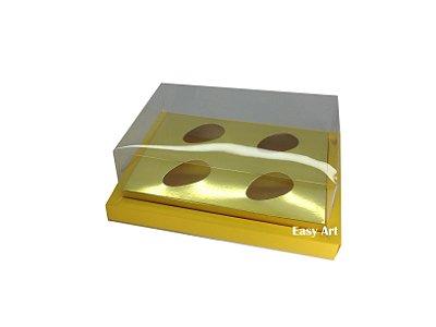 Caixa para Ovos de Colher 4X 50g / Amarelo - Dourado