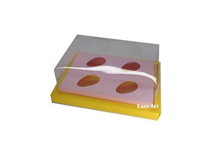 Caixa para Ovos de Colher 4X 50g / Amarelo - Rosa Claro