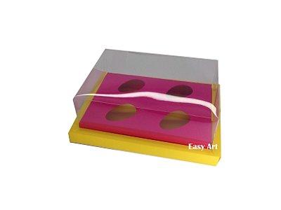 Caixa para Ovos de Colher 4X 50g / Amarelo - Pink