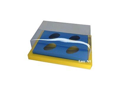 Caixa para Ovos de Colher 4X 50g / Amarelo - Azul Turquesa