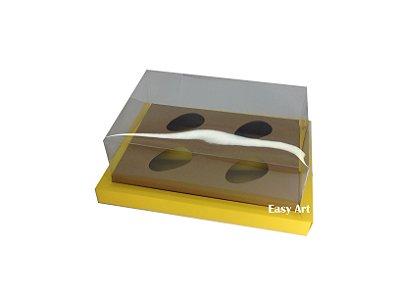 Caixa para Ovos de Colher 4X 50g / Amarelo - Marrom Claro