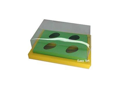 Caixa para Ovos de Colher 4X 50g / Amarelo - Verde Pistache