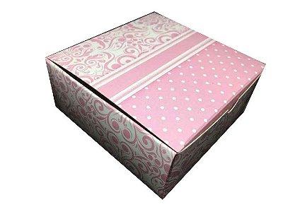 Caixa Arabescos e Póas Rosa Claro /  04 Brigadeiros - 8x8x3,5